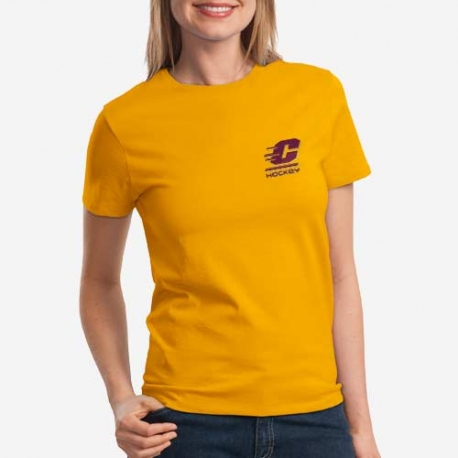 Ladies T Shirt Left Chest Logo Central Michigan University Hockey Store