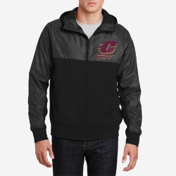 Embossed Hybrid Full-Zip Hooded Jacket